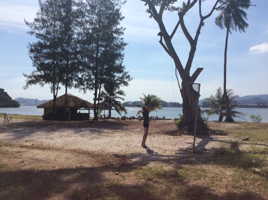 Koripallokenttä oli päästetty perunapelloksi, taustalla näkyvä Beach Bar autioksi.